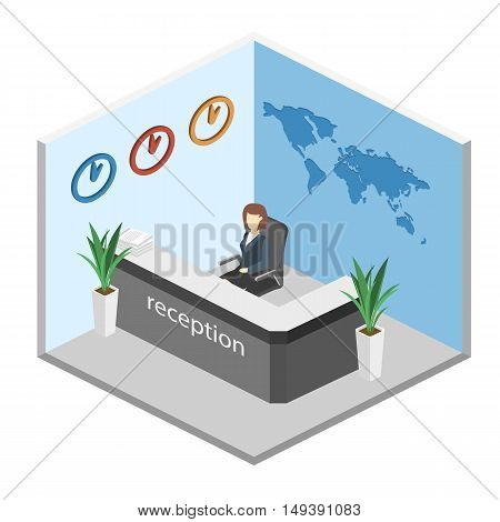 Isometric Interior Of Reception. World Map On The Wall