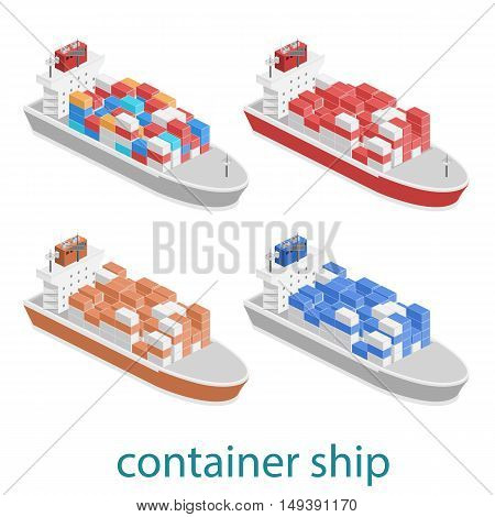 Isometric Vector Illustration Of Two River Cargo Boats Traveling On Water.