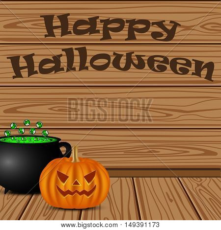 Pot with a potion witch and pumpkin in the background of the wooden planks on Halloween