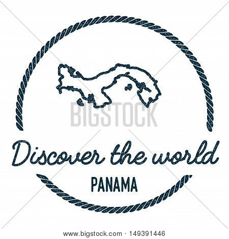 Panama Map Outline. Vintage Discover The World Rubber Stamp With Panama Map. Hipster Style Nautical