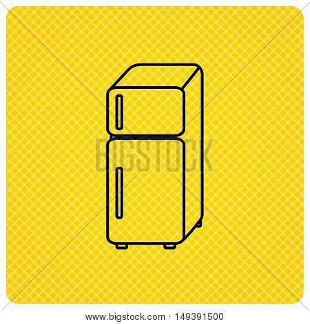 Refrigerator icon. Fridge sign. Linear icon on orange background. Vector