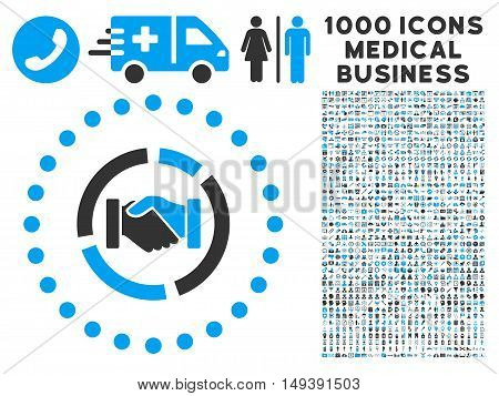 Acquisition Diagram icon with 1000 medical commercial gray and blue vector pictographs. Collection style is flat bicolor symbols, white background.