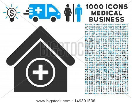 Add Building icon with 1000 medical commerce gray and blue vector design elements. Design style is flat bicolor symbols, white background.