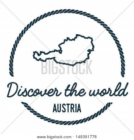 Austria Map Outline. Vintage Discover The World Rubber Stamp With Austria Map. Hipster Style Nautica