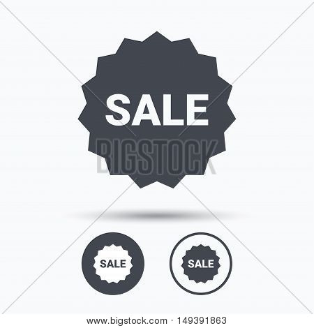 Sale icon. Special offer star symbol. Circle buttons with flat web icon on white background. Vector