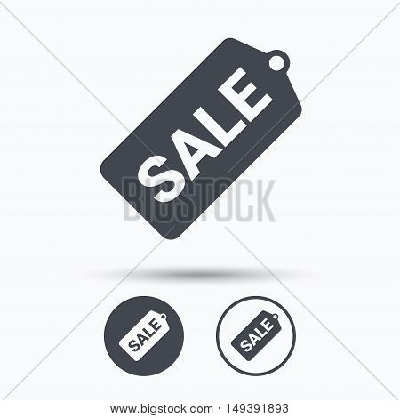 Sale coupon icon. Special offer tag symbol. Circle buttons with flat web icon on white background. Vector