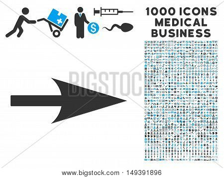 Arrow Axis X icon with 1000 medical business gray and blue vector pictographs. Set style is flat bicolor symbols, white background.
