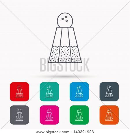 Salt icon. Sodium spice sign. Cooking ingredient symbol. Linear icons in squares on white background. Flat web symbols. Vector