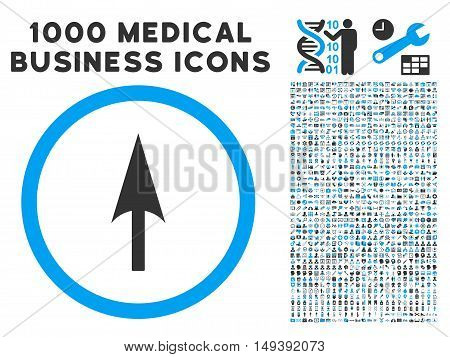 Arrow Axis Y icon with 1000 medical business gray and blue vector design elements. Design style is flat bicolor symbols, white background.
