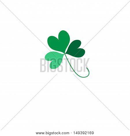 Green Shamrock leave icon isolated on background. Happy patricks flat pictogram concept. Logo illustration