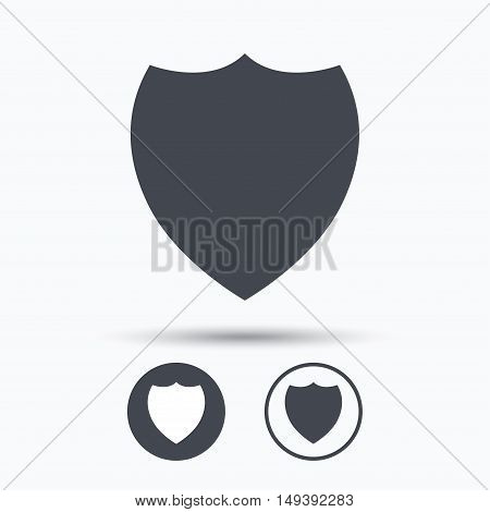 Shield protection icon. Defense equipment symbol. Circle buttons with flat web icon on white background. Vector