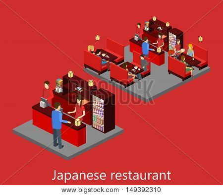Vector Isometric Sushi Restaurant. Building Icon