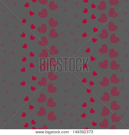 Seamless Pattern with Little Hearts Arranged in Stripes on Grey Background. Ideal for Fabric and Paper Print. Vector EPS 10