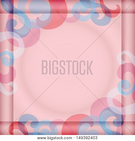 Background  with Square Frame and Abstract Pattern.  Satin Fabric  Texture. Vector EPS 10