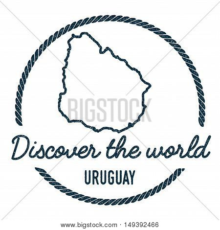 Uruguay Map Outline. Vintage Discover The World Rubber Stamp With Uruguay Map. Hipster Style Nautica