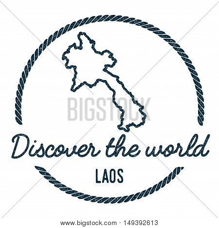 Lao People's Democratic Republic Map Outline.. Vintage Discover The World Rubber Stamp With Lao Peop