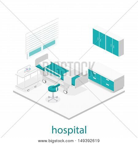 Isometric Flat Interior Of Hospital Room.