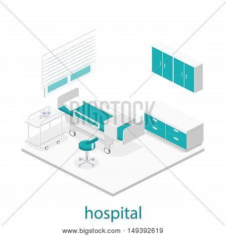 Isometric Flat Interior Of Hospital Room.