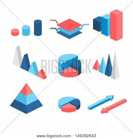 Isometric Flat 3D Infographic Elements With Data Icons And Design Elements. Pie Chart, Layers Graphs