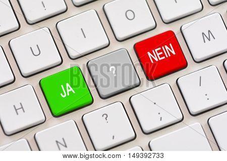 Ja or Nein choice in Deutsch on keyboard