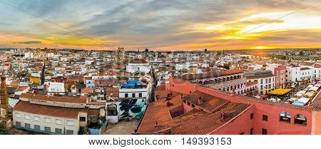 Panoramic view of Badajoz during celebration of Almossassa Festival Extremadura Spain