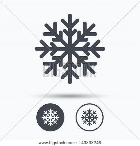 Snowflake icon. Air conditioning symbol. Circle buttons with flat web icon on white background. Vector