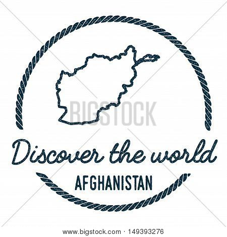 Afghanistan Map Outline. Vintage Discover The World Rubber Stamp With Afghanistan Map. Hipster Style
