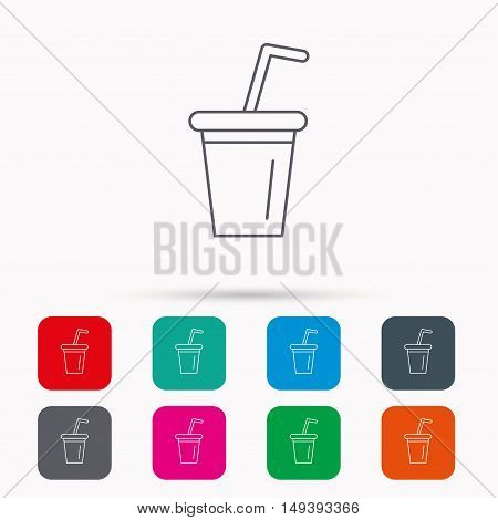Soft drink icon. Soda sign. Linear icons in squares on white background. Flat web symbols. Vector