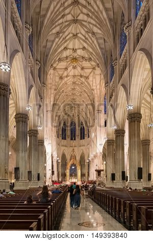 NEW YORK,USA - AUGUST 20,2016: Interior of Saint Patrick's Cathedral in New York City