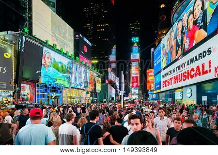 NEW YORK,USA - AUGUST 17,2016: Times Square at night in New York City