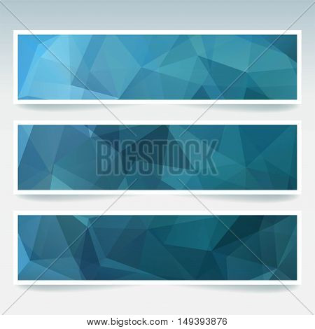 Horizontal Banners Set With Polygonal Blue Triangles. Polygon Background, Vector Illustration
