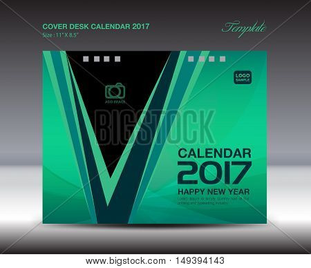 Desk Calendar for 2017 Year, Green Cover Desk Calendar ,leaflet ,cover design,book cover, booklet vector ,cover template ,Brochure flyer ,poster, advertisement