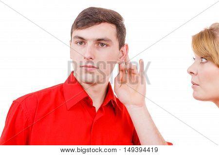 Woman Telling Man Some Secrets, Couple Talking