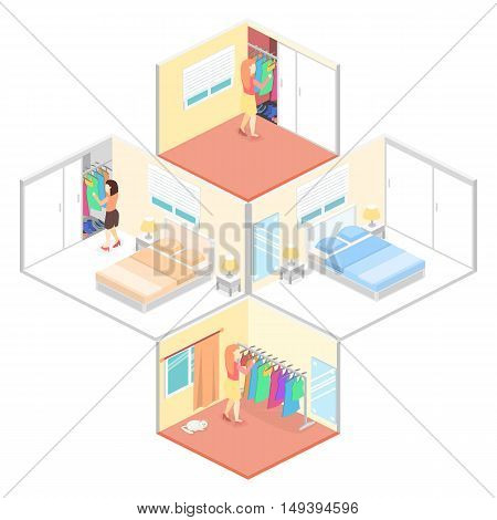 Girl Chooses Clothes In Isometric Room. Flat 3D Illustration.