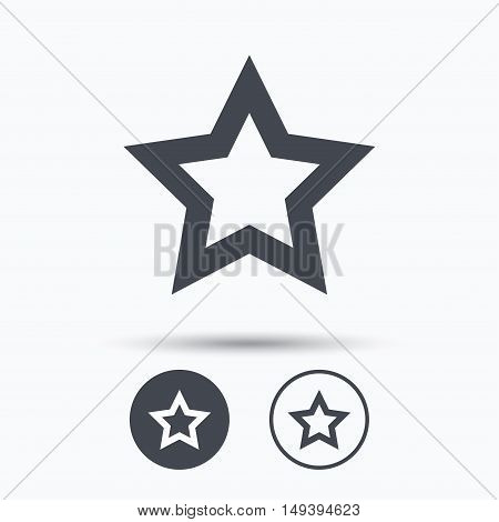 Star icon. Favorite or best sign. Web ranking symbol. Circle buttons with flat web icon on white background. Vector