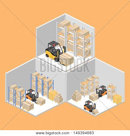 Isometric Interior Of Warehouse. The Boxes Are On The Shelves. Flat 3D Illustration.