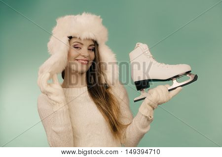 Attractive Lady With Ice Skate.
