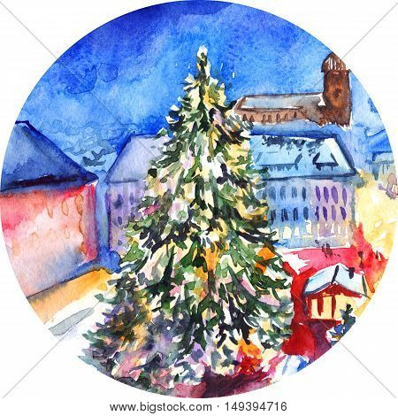 Watercolor Christmas tree in city square artwork