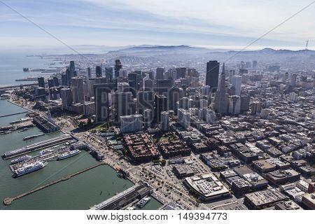 San Francisco, California, USA - September 19, 2016:  Aerial view of urban downtown San Francisco skyline.