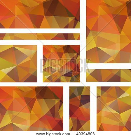 Horizontal Banners Set With Polygonal Orange Triangles. Polygon Background, Vector Illustration