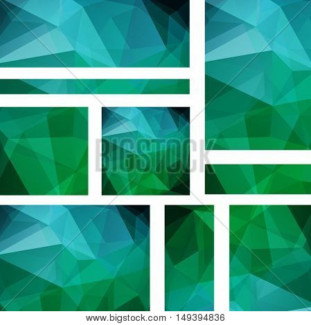 Horizontal Banners Set With Polygonal Green, Blue Triangles. Polygon Background, Vector Illustration
