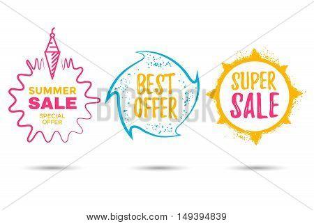 Sale label vector set. Sign discount different shapes.