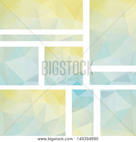 Horizontal Banners Set With Polygonal Pastel Yellow, Blue Triangles. Polygon Background, Vector Illu