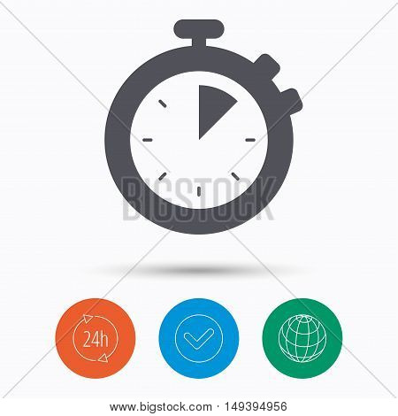 Stopwatch icon. Timer or clock device symbol. Check tick, 24 hours service and internet globe. Linear icons on white background. Vector