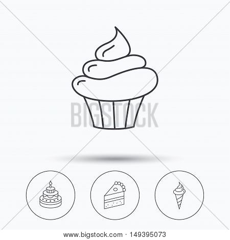 Cake, cupcake and ice cream icons. Piece of cake linear sign. Linear icons in circle buttons. Flat web symbols. Vector