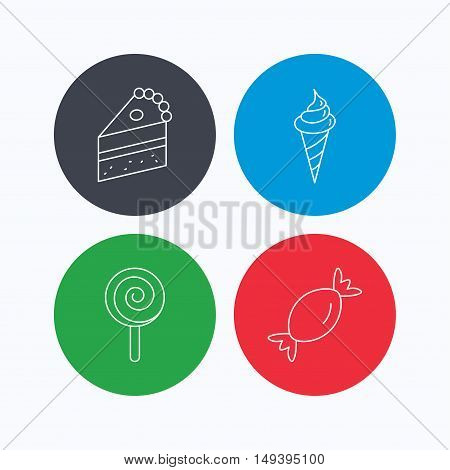 Cake, candy and ice cream icons. Piece of cake, lolly pop linear sign. Linear icons on colored buttons. Flat web symbols. Vector