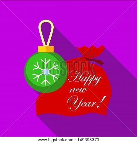 Santa Claus red bag with christmas ball christmas star, vector