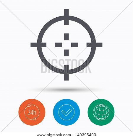 Target icon. Crosshair aim symbol. Check tick, 24 hours service and internet globe. Linear icons on white background. Vector