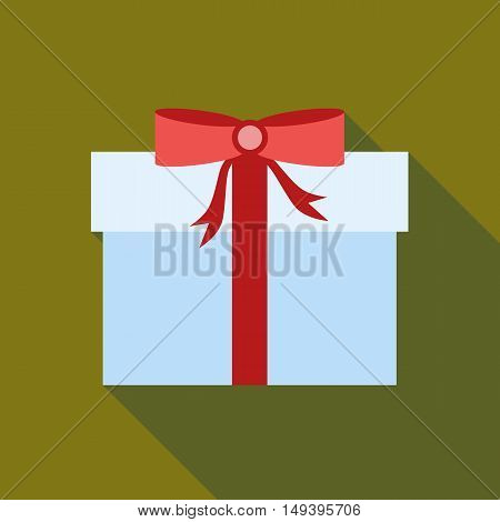 Thanksgiving gift box icon in flat style isolated with long shadow vector illustration