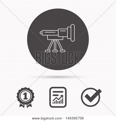 Telescope icon. Spyglass sign. Astronomy magnify lens symbol. Report document, winner award and tick. Round circle button with icon. Vector